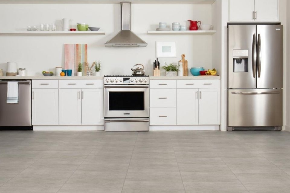 Farmhouse kitchen tile floors